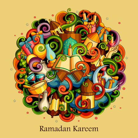 Vector illustration of Ramadan Kareem Blessing for Eid background with Islamic mosque Vettoriali