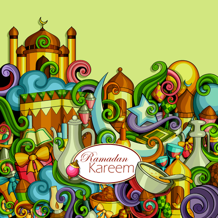Vector illustration of Ramadan Kareem Blessing for Eid background with Islamic mosque Illustration