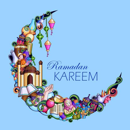 Ramadan Kareem Blessing for Eid background. 向量圖像