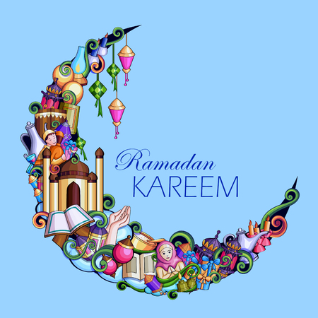 Ramadan Kareem Blessing for Eid background. Illustration