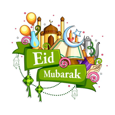 Eid Mubarak Blessing for Eid background. Vectores