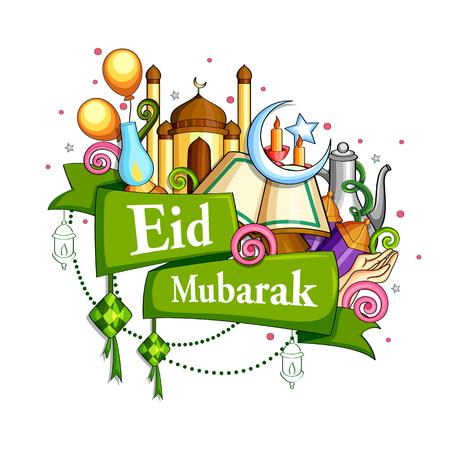 Eid Mubarak Blessing for Eid background. Stock Illustratie
