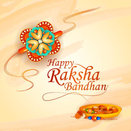 インドのお祭りラクシャバンダンの装飾が施されたラキのベクトル イラスト  イラスト・ベクター素材
