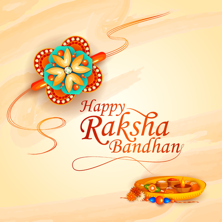 vector illustration of decorated rakhi for Indian festival Raksha Bandhan Vettoriali