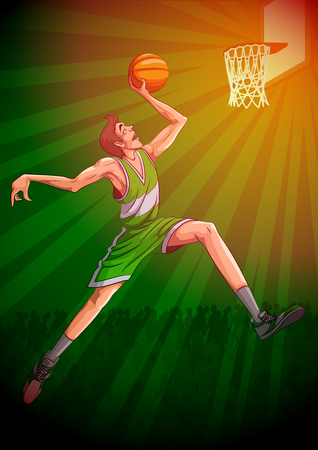dribbling: Active young player playing game of Basketball sport