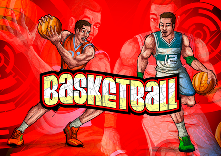 Active young player playing game of Basketball sport