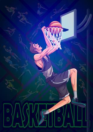 농구 스포츠의 활성 젊은 선수 일러스트