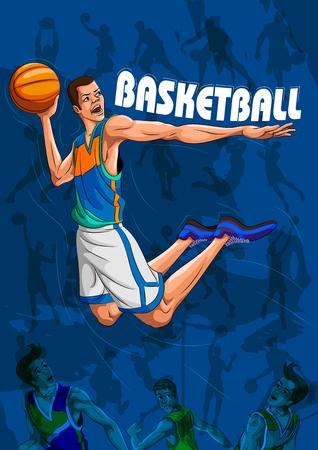 Active young player playing game basketball Illustration