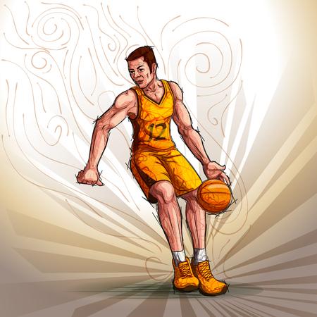 man: Active young player playing basketball Illustration