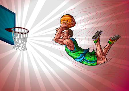 competitions: Active young player playing basketball Illustration