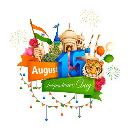 8 月 15 日のインドで、インドの有名な記念碑のベクトル イラスト背景のインドのハッピー独立記念日。