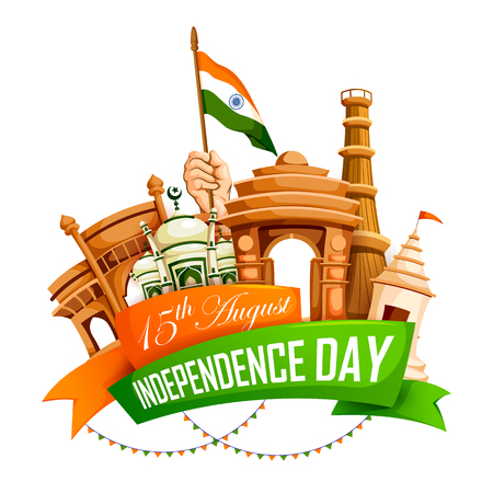 A vector illustration of Famous monument of India in Indian background for 15th August Happy Independence Day of India.