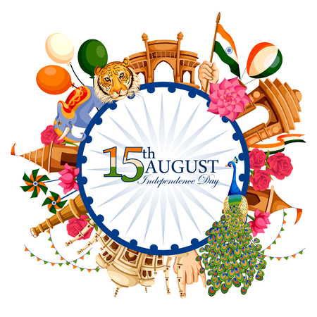Indian tricolor background for 15th August Happy Independence Day of India Ilustrace