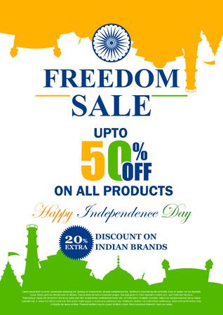 Een vectorillustratie van Verkoopbevordering en Reclame voor Gelukkige de Onafhankelijkheidsdag van 15 Augustus van India. Stock Illustratie