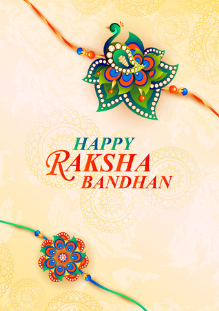 a vector illustration of decorated rakhi for Indian festival Raksha Bandhan.