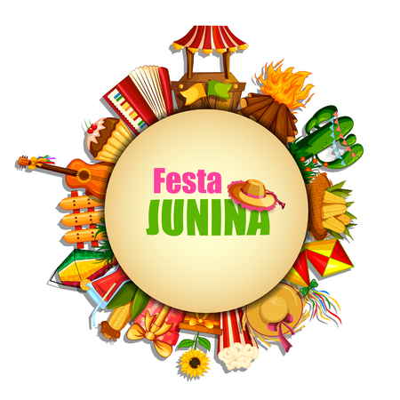 vector illustration of Festa Junina celebration background of Brazil and Portugal festival