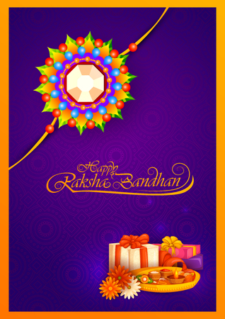 thali: Decorated rakhi for Indian festival Raksha Bandhan Illustration