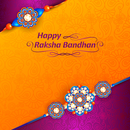 festive occasions: Decorated rakhi for Indian festival Raksha Bandhan Illustration