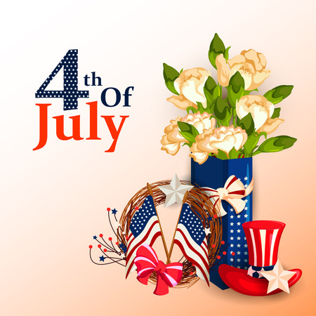 traditional culture: vector illustration of 4th of July celebration for Happy Independence Day of America