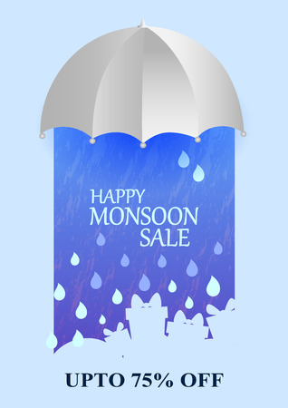 raining: Happy Monsoon Sale Offer promotional and advertisment banner