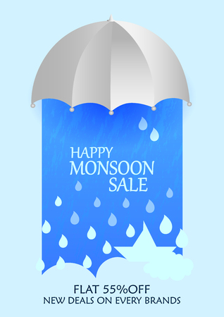 price drop: Happy Monsoon Sale Offer promotional and advertisment banner
