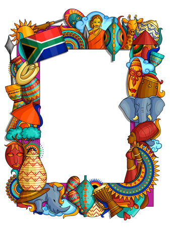 vector illustration of doodle style frame of colorful African culture