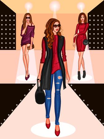 Mooi modern modieus vrouwenmodel op helling