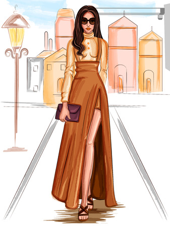 Modern stijlvol trendy vrouw modieus model