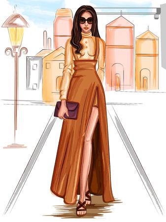 Modern stylish trendy woman fashionable model 向量圖像