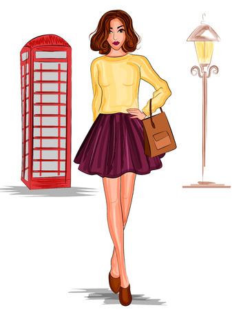 Modern stylish trendy woman fashionable model Illustration