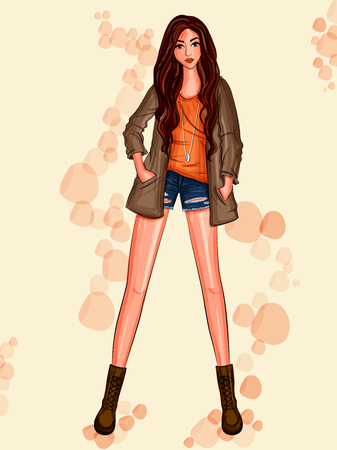 Modern stylish trendy woman fashionable model Illustration