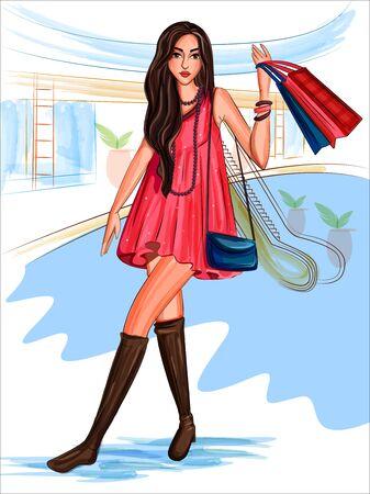 Vector design of modern stylish trendy woman fashionable model Stock Photo