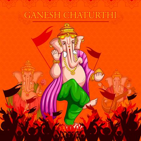 Lord Ganapati for Happy Ganesh Chaturthi festival background Illustration