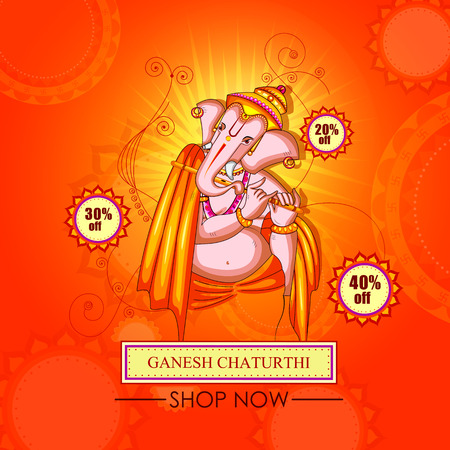 Lord Ganapati for Happy Ganesh Chaturthi festival shopping sale offer promotion advetisement background Illustration