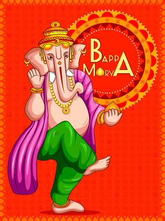 Lord Ganapati for Happy Ganesh Chaturthi festival background Illustration