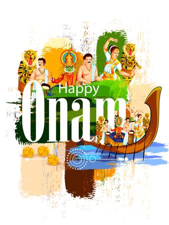 Happy Onam Festival vector. Illusztráció