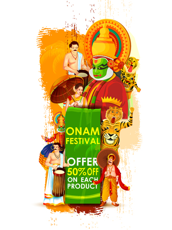 Happy Onam Big Shopping Sale Advertisement vector.