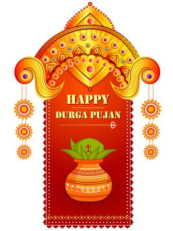 인도 휴일을위한 행복한 Durga Puja 축제 배경 Dussehra 일러스트