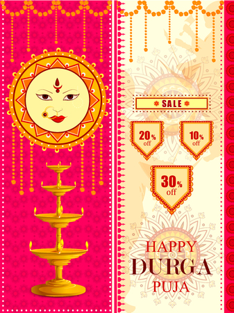 Happy Durga Puja festival Sale And Promotion background for India holiday Dussehra