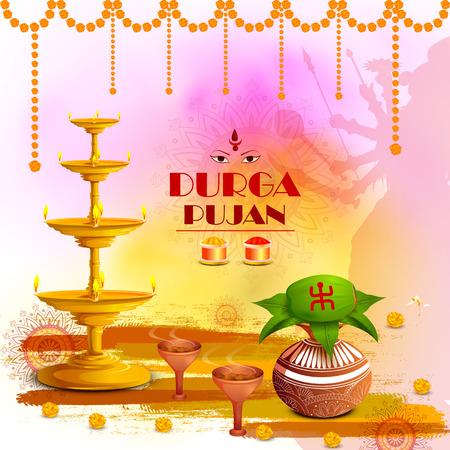 Ilustración del vector del fondo durga puja feliz puja para la fiesta de la india dussehra Foto de archivo - 85171678