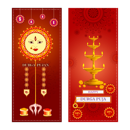 gods: Happy Durga Puja festival Sale And Promotion background for India holiday Dussehra
