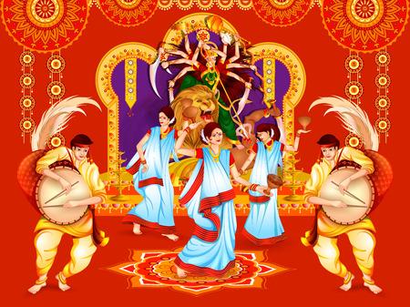 インドの休日 Dussehra のためのハッピードゥルガープジャフェスティバルの背景