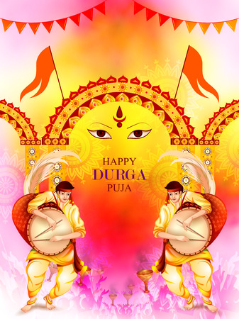 bengal: Happy Durga Puja festival background for India holiday Dussehra