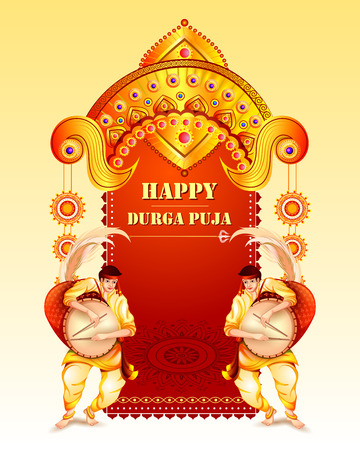 Happy Durga Puja festival background for India holiday Dussehra