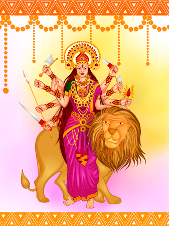 happy people: Happy Durga Puja festival background for India holiday Dussehra