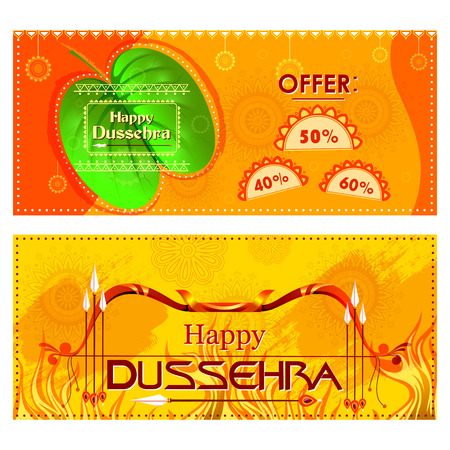 Bow and Arrow on Happy Dussehra shopping sale offer Illustration