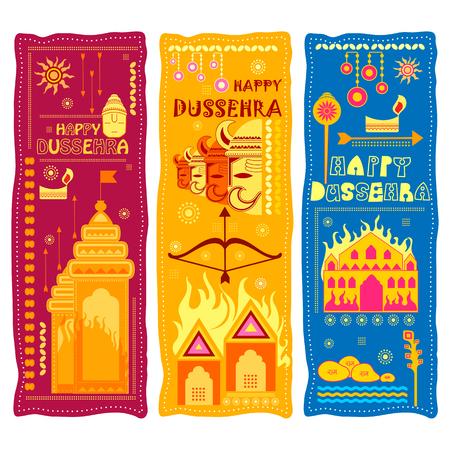 Lord Rama killing Ravana in Happy Dussehra festival of India Illusztráció