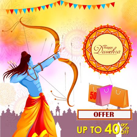 Lord Rama killing Ravana in Happy Dussehra festival offer Illustration