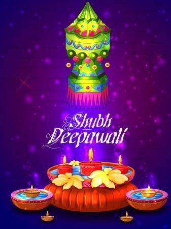 Happy Diwali night celebrating holiday of India