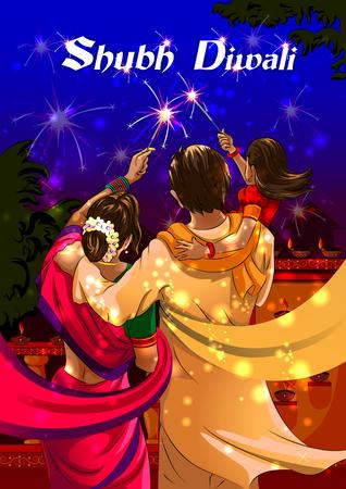 행복 한 디 왈 리 밤에 인도의 휴일을 축 하하는 firecracke를 타는 가족